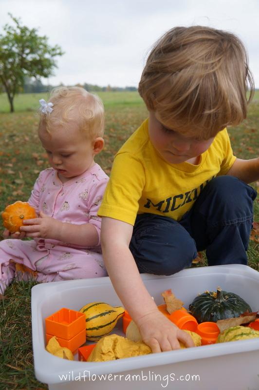 pumpkin kids activities and pumpkin sensory bin
