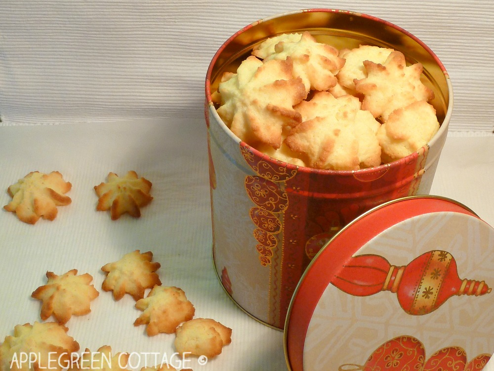 cookie container full with homemade coconut cookies