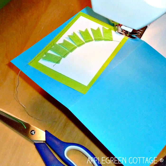 home-made birthday cards idea - use a sewing machine