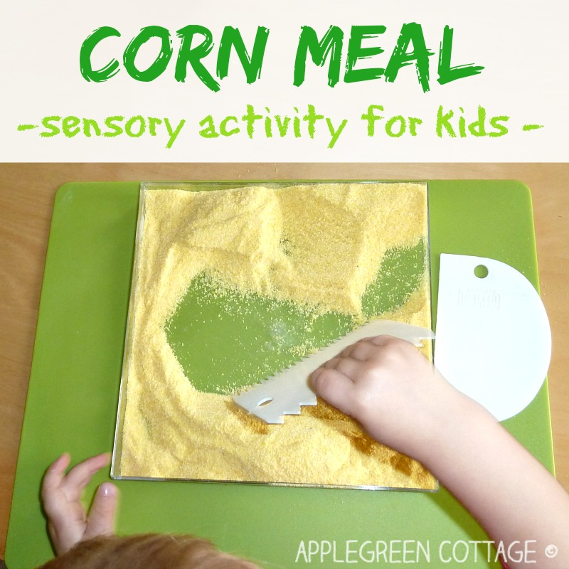 corn meal sensory activity for toddlers