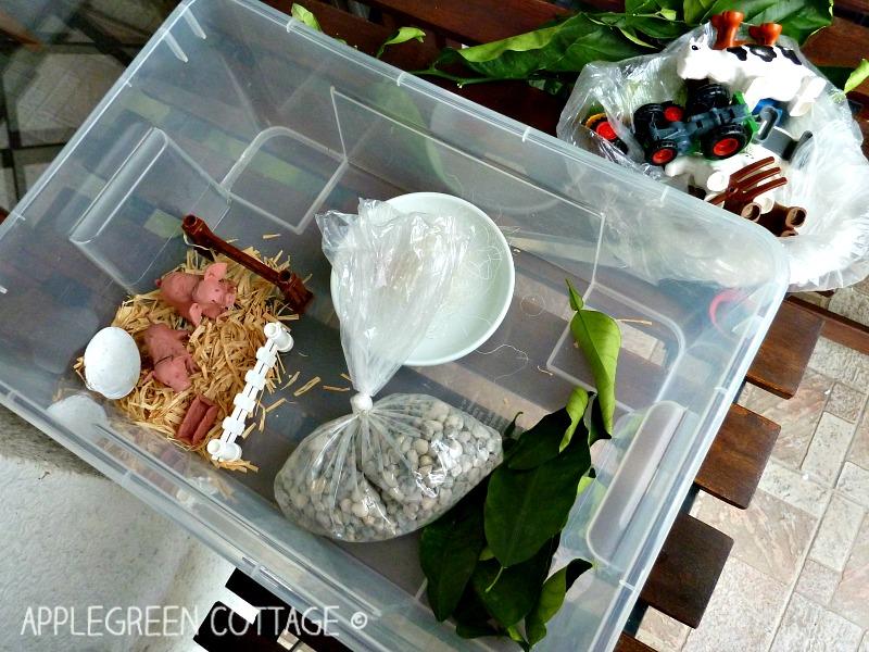 sensory bin activity for kids - farm