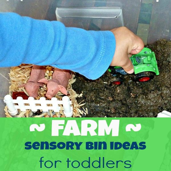 sensory bin farm for kids