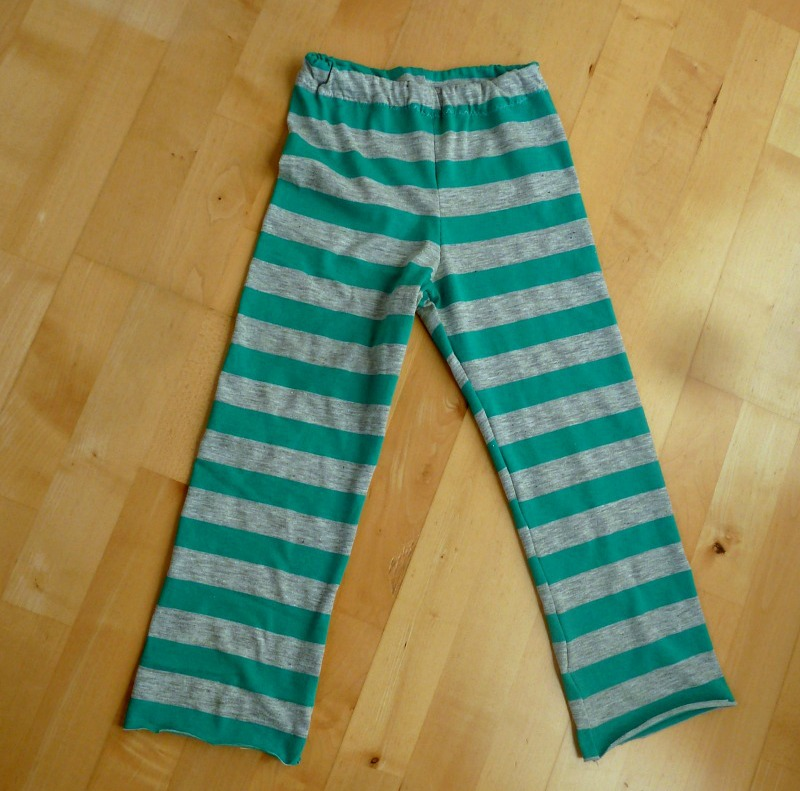 diy pajama pants for kids in green and grey striped jersey