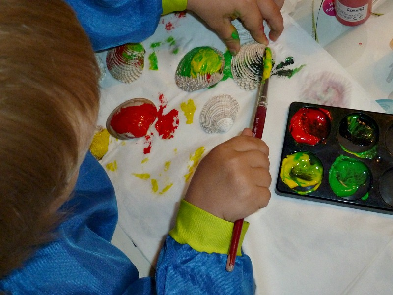 Seashell painting crafts for kids