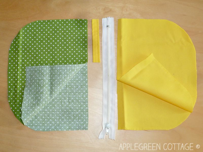 fabric pieces and a zipper
