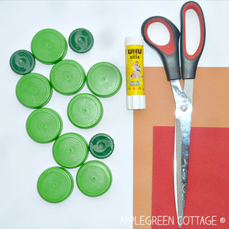 materials for the bottle cap crafts for kids