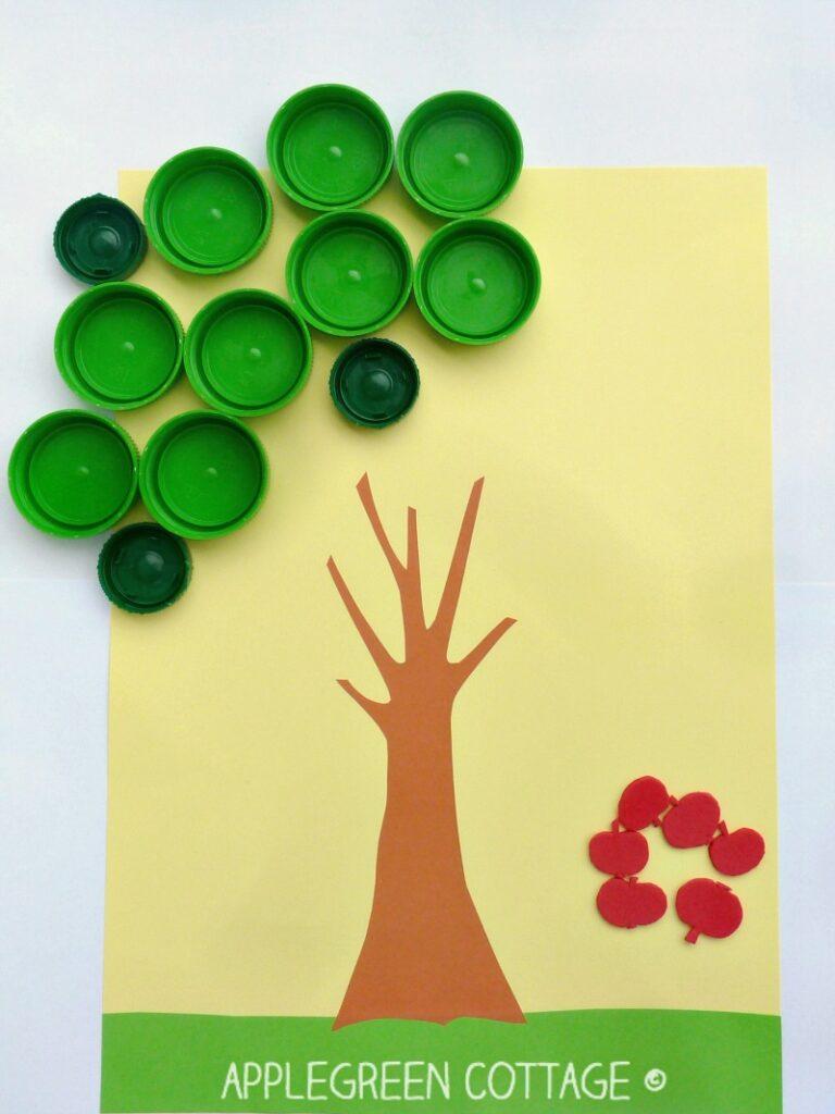 apple search bottle cap activity for kids