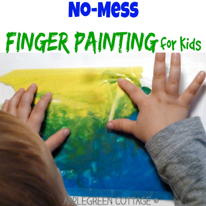 Ziplock finger painting - a fun kids art idea for days when you don't feel like cleaning up the mess after the art project is over!