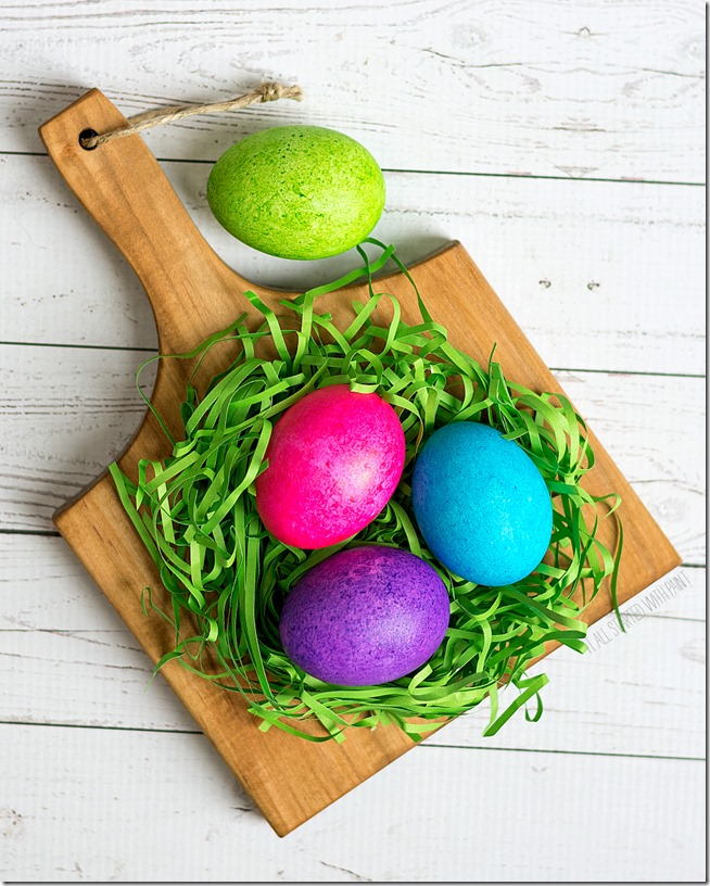 Easter eggs dyed with rice and food coloring