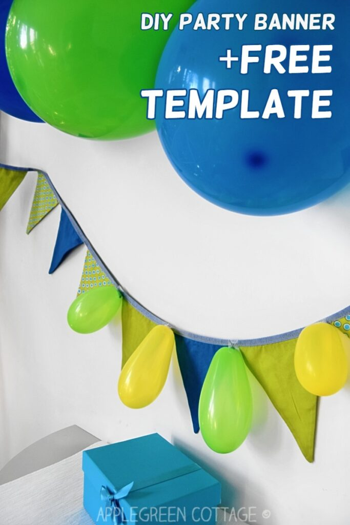 diy bunting banner hung on a wall and decorated for a party