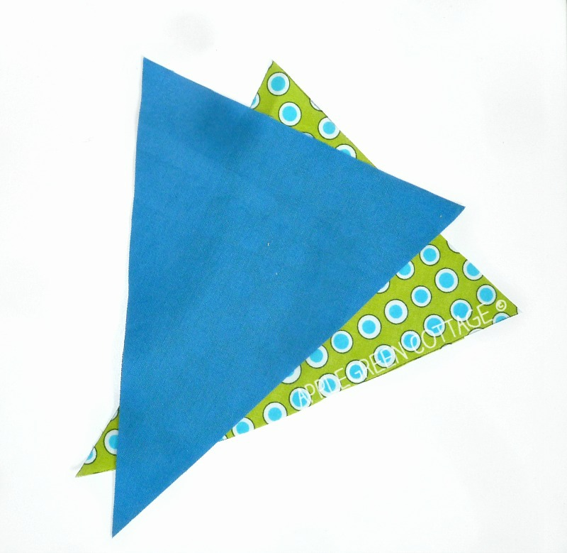 2 pieces of fabric cut from the printable bunting template