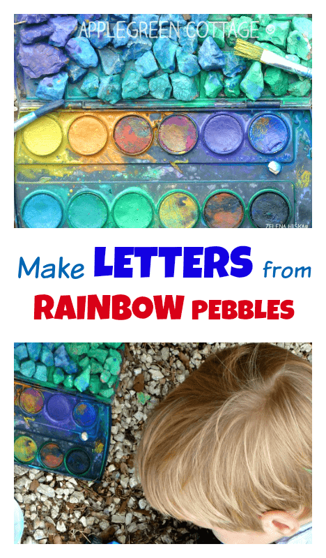 Ever thought of making letters out of pebbles? You have, haven't you?  But this time, you can make  the learning activity even more fun - with splashing colors. It's a perfect summer kids activity to go for outdoors (Moms and dads, NO cleaning needed!!)