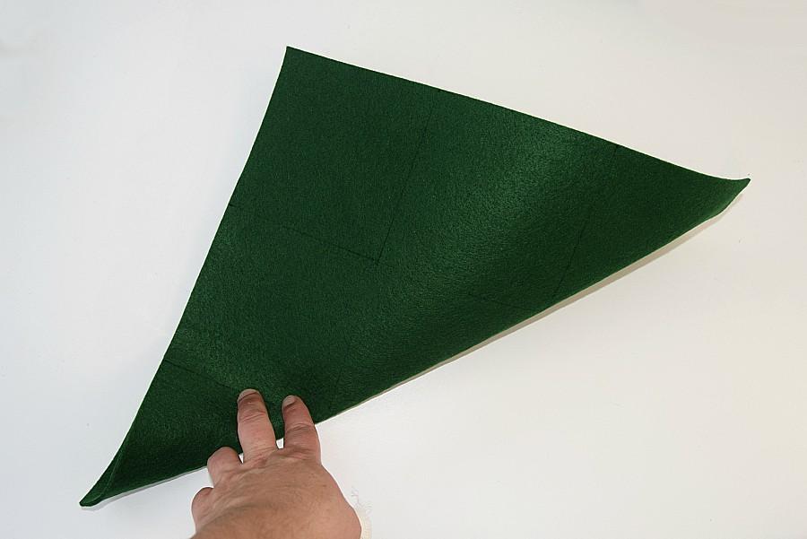 diagonally folded green felt for diy storage box