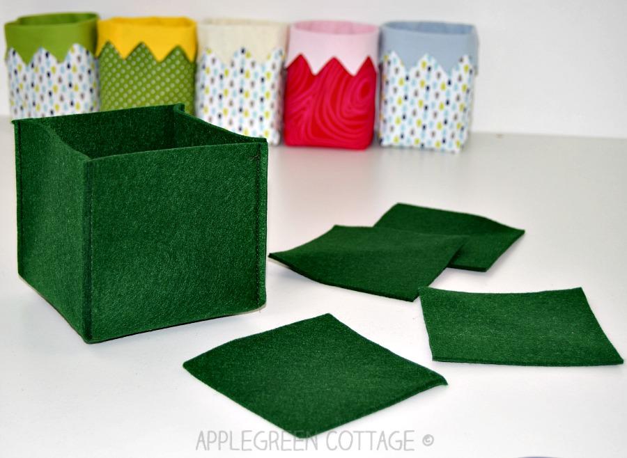 finished diy storage box in green felt