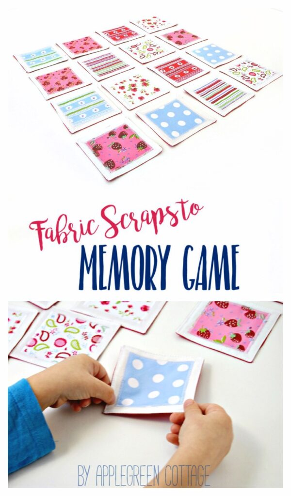 A DIY fabric memory game is a fun and easy-to-sew DIY game for kids and adults alike. You can make your own if you know how to sew a straight line! Grab a few fabric craps and go for this easy beginner sewing project! Makes a great DIY birthday present, stocking stuffer or party favor. Check back for the free PDF template plus tutorial