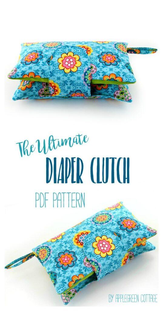 diaper clutch pattern with zipper pocket