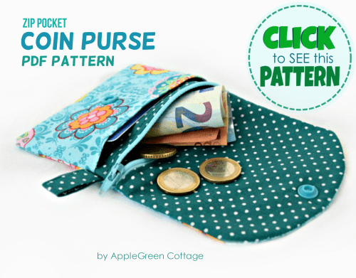 sewing pattern for coin purse with zipper