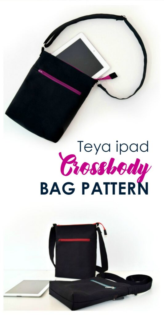 crossbody bag pattern in black with an iPad