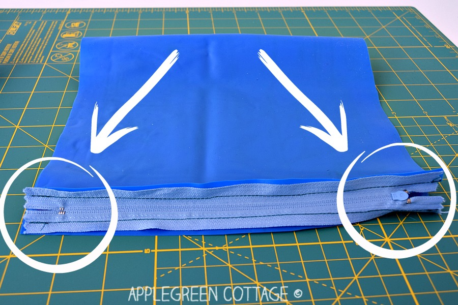 How to make an easy toiletry bag, an unlined zipper pouch out of any used materials. You need one piece of fabric and a zipper. A great beginner sewing project and a perfect way to learn how to sew zippers - the easy way!