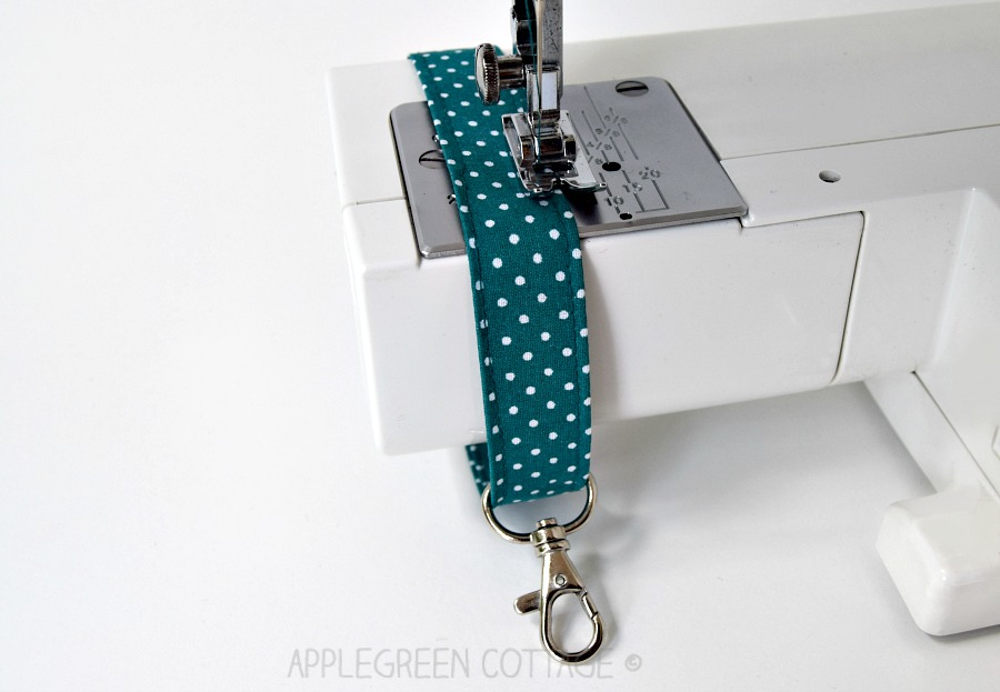 wristlet strap made with sewing machine
