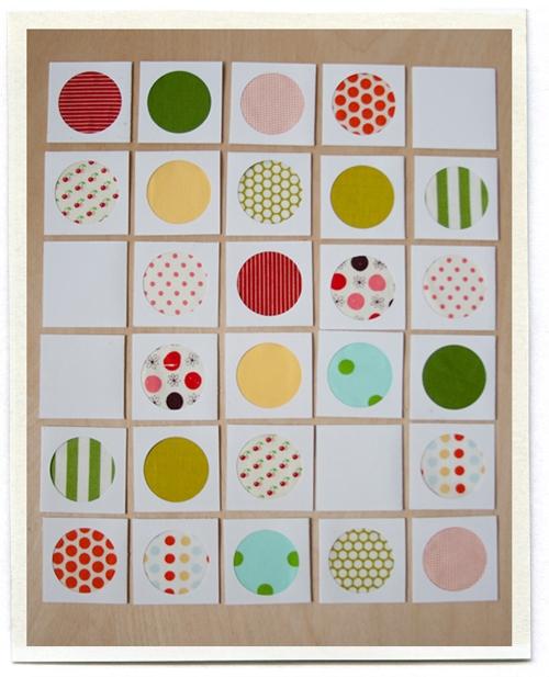 round fabric scraps memory game