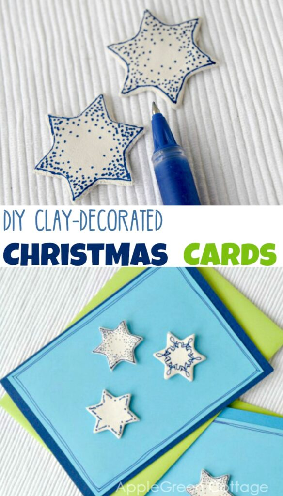 air dry clay stars decorated and used as diy christmas card decoration