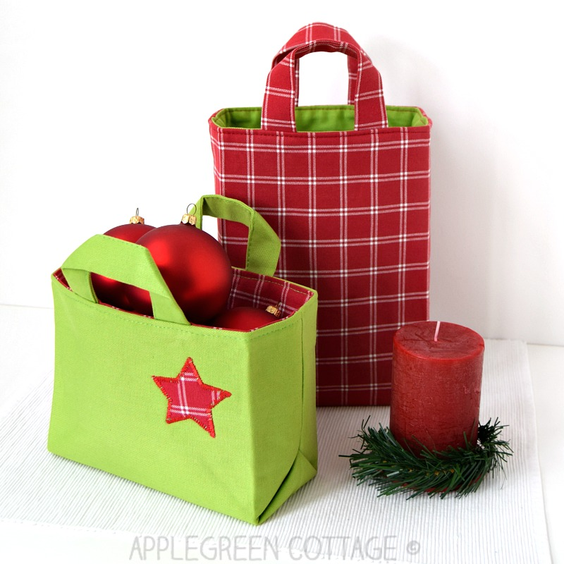 DIY Christmas gift bag to sew - beginner sewing patterns