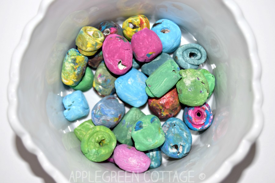 painted diy air dry beads for a bracelet