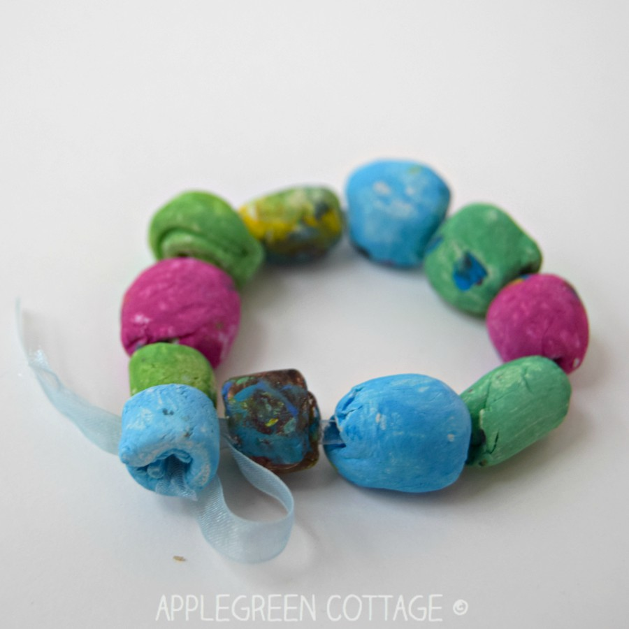 easy diy bracelets made with painted air dry clay beads