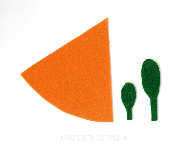 felt carrot template pieces to sew