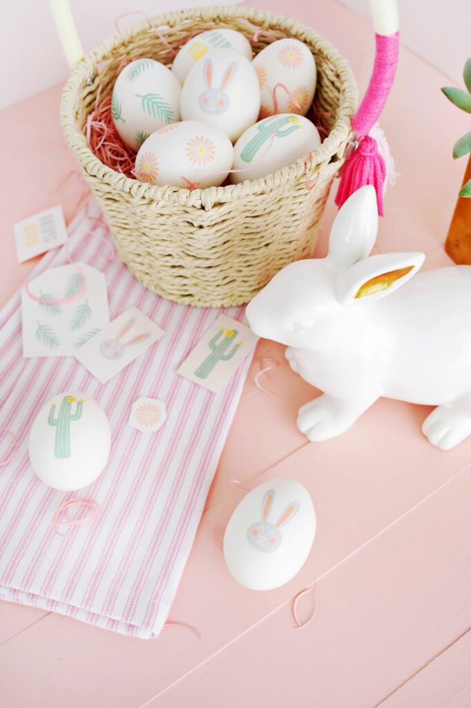 white easter eggs painted