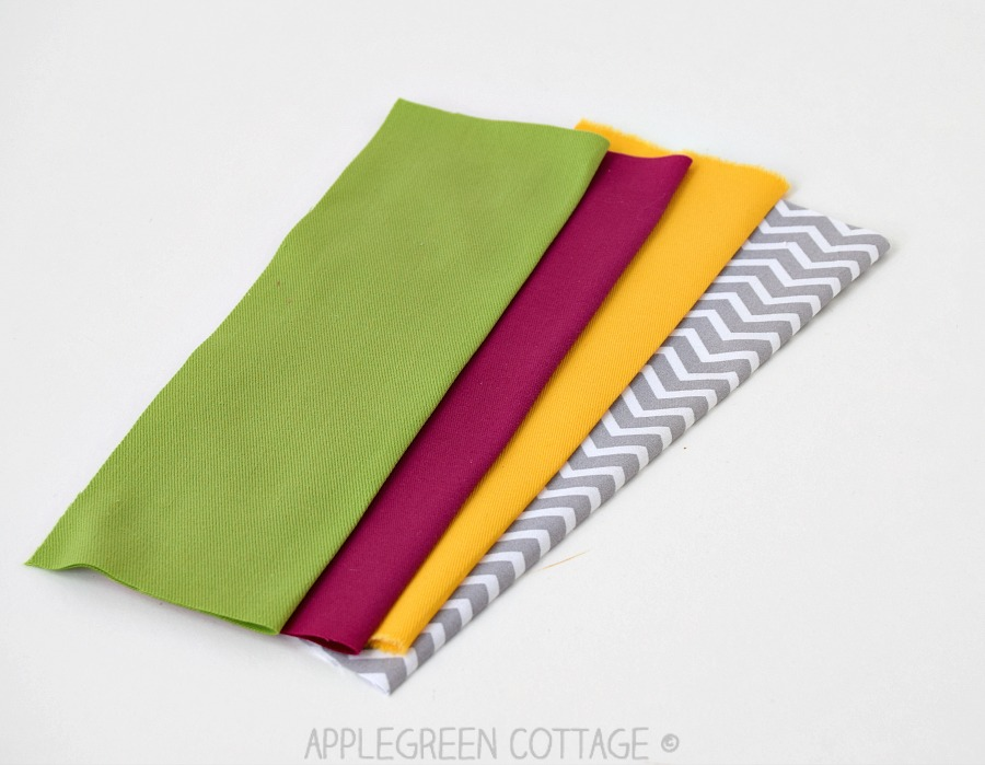 fabric pieces to make a bookmark