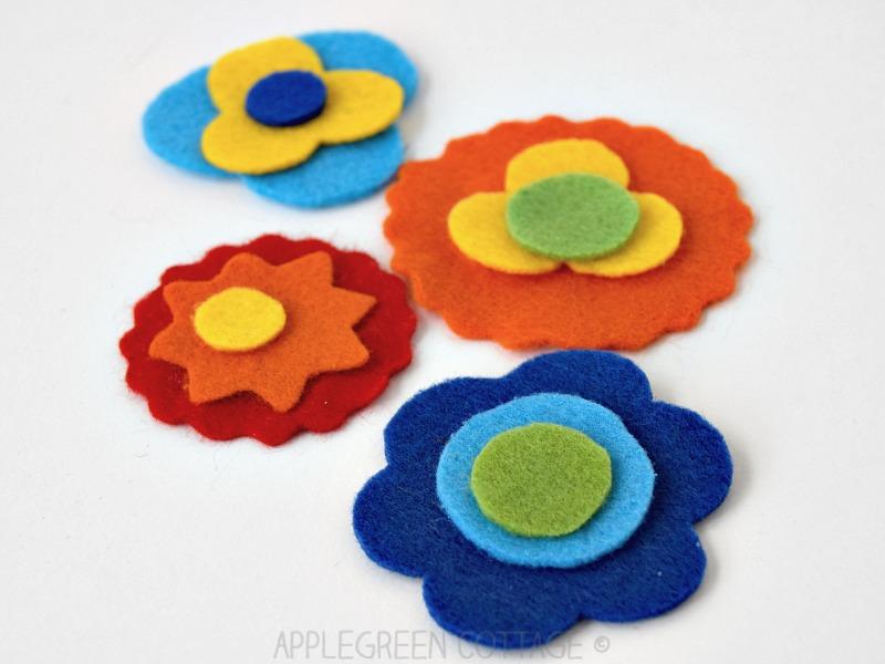 felt applique flowers for diy bookmark