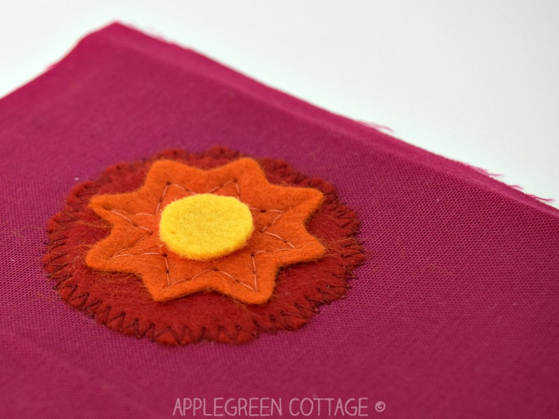 closeup of applique on a fabric bookmark