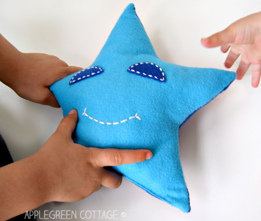 blue star plushie handmade with free sewing pattern