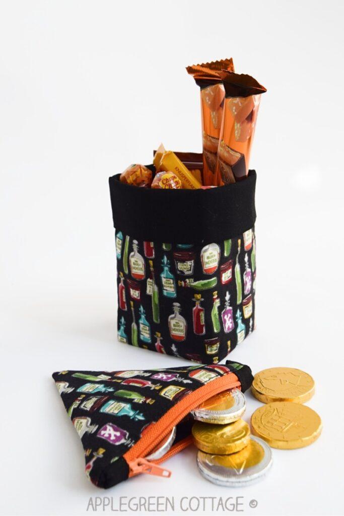 black Halloween basket and Halloween zipper pouch