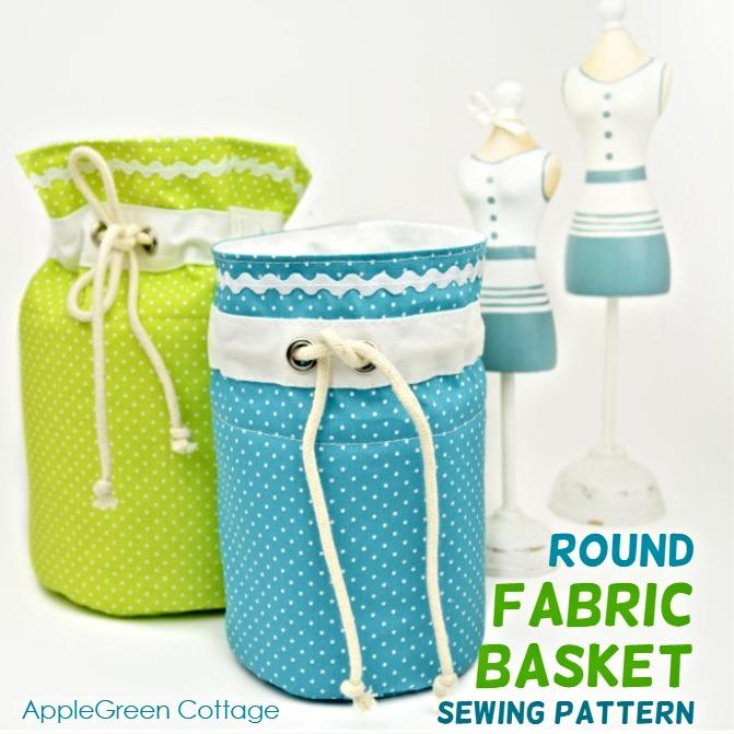 round fabric storage bins
