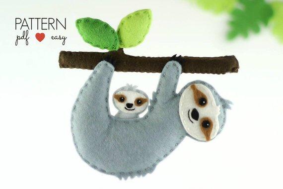 Sloth sewing patterns and sloth diy ideas