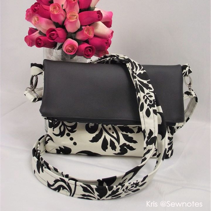 diy crossbody foldover purse in black and white