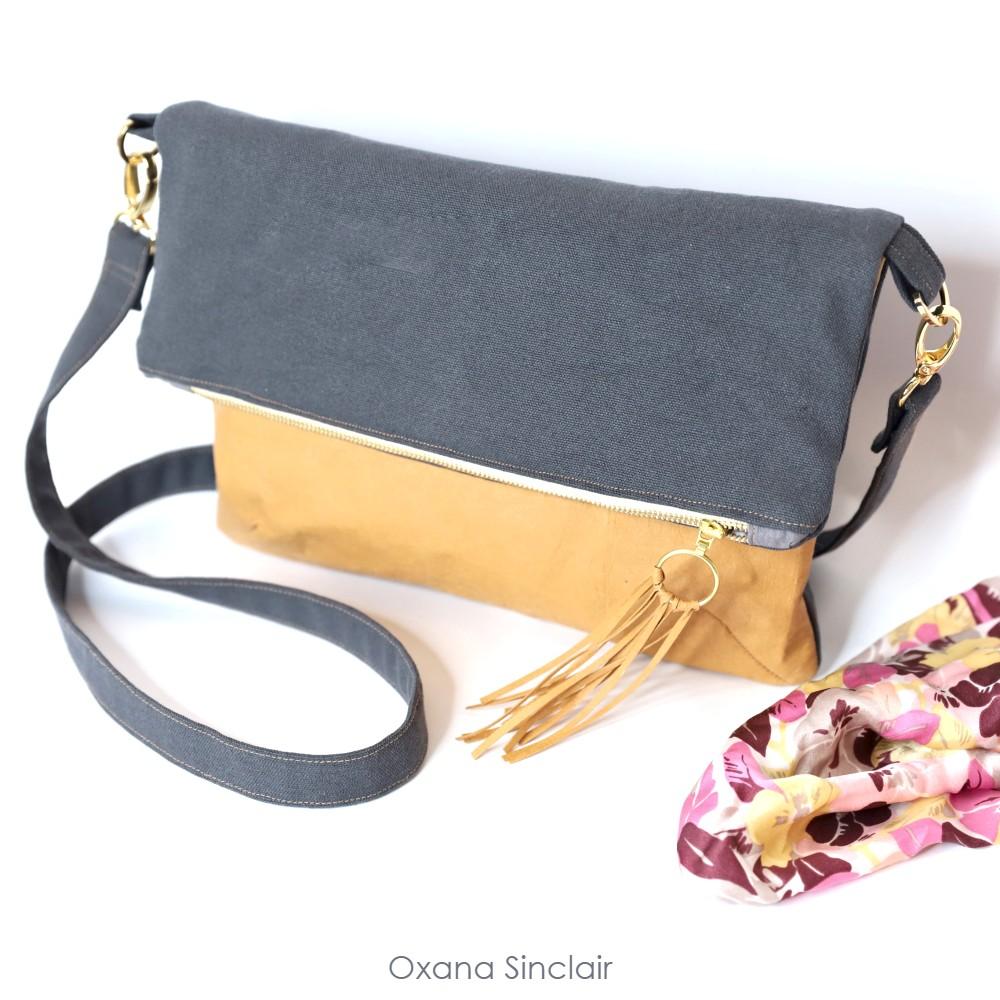 diy crossbody foldover purse with grey craft-tex