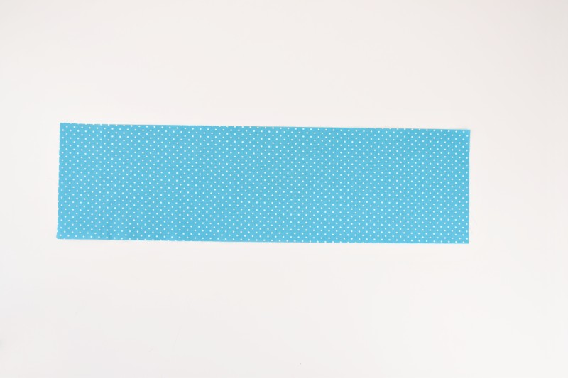 blue dotted fabric cut for scrunchies