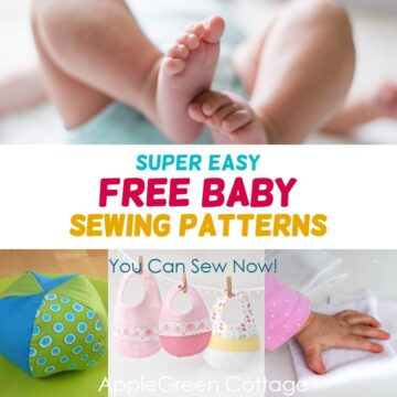 baby lying, baby toys and diy baby bibs