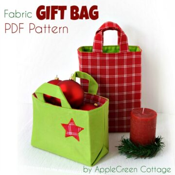 fabric gift bags made with sewing pattern