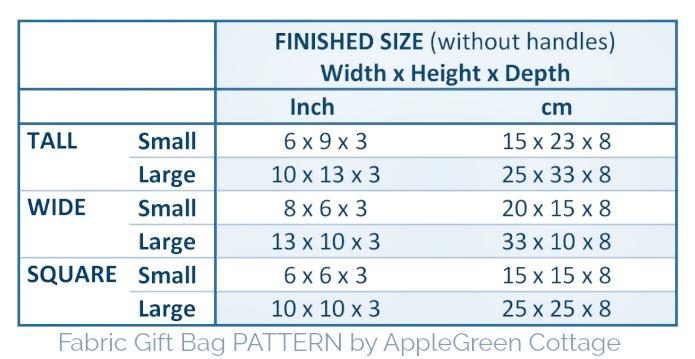 gift bag pattern sizes