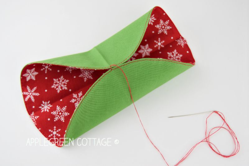 showing how to fold the fabric origami ornament