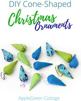 DIY Cone-Shaped Christmas Ornaments