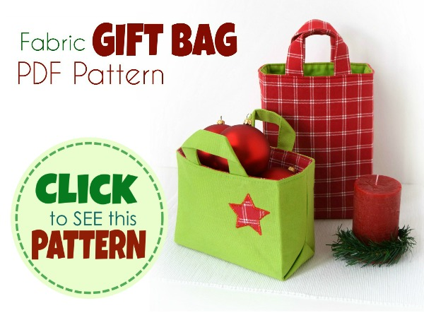 fabric gift bag Reusable Block pattern