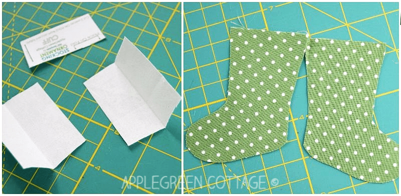 cutting fabric for mini Christmas stocking