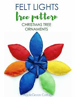 Felt Lights Christmas Tree Ornaments Free Pattern