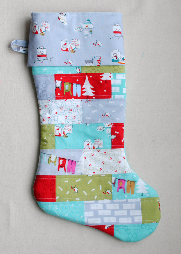 sewing patchwork christmas stocking